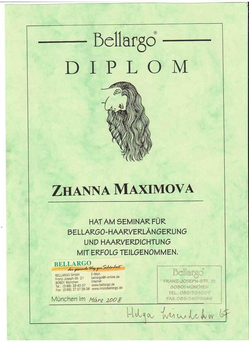 Диплом (сертификат) наращивание волос Bellargo (Белларго)