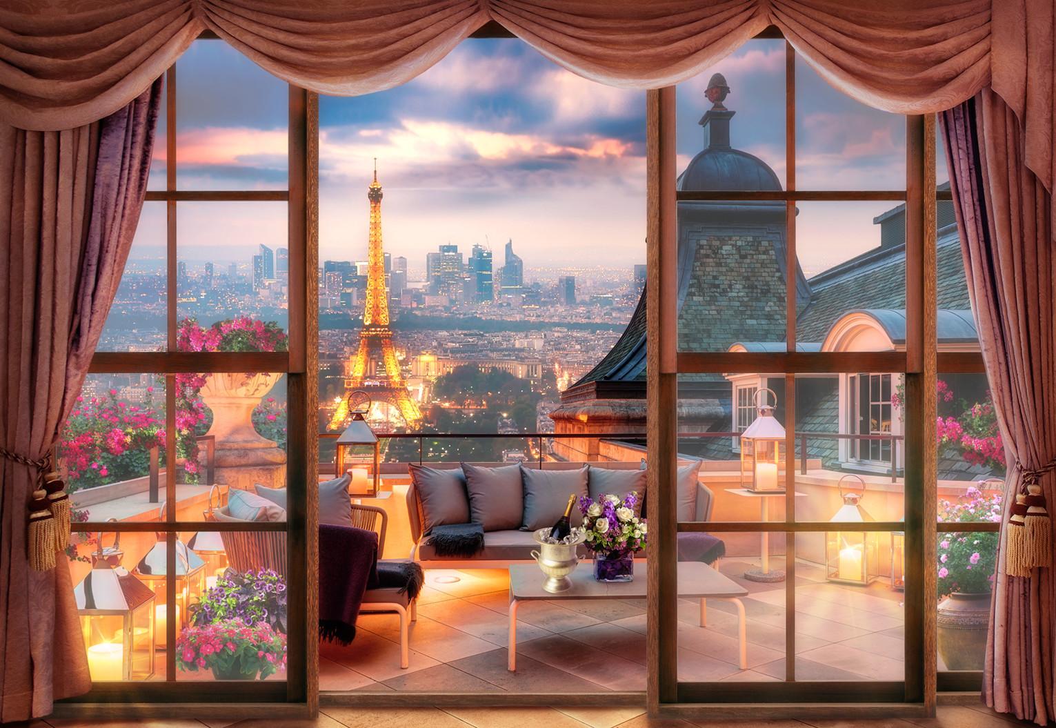 Фотообои вечерний париж из категории: вид из окна. bur-098 -.