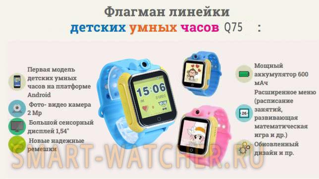 Детские Умные Часы с GPS Трекером Smart Baby Watch Q75 Q200 GW1000 Характеристики